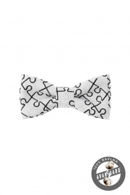 Biała muszka chłopięca MINI puzzle