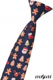 Krawat dziecięcy ze świątecznym wzorem 44 cm