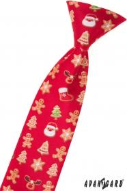 Krawat świąteczny czerwony dziecięcy 44 cm