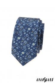 Wąski krawat w niebiesko-żółty wzór