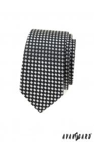 Wąski krawat w czarno-szarą kratę