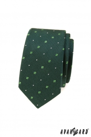 Wąski krawat w zielone wzory