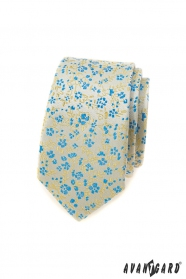 Wąski krawat męski w niebiesko-żółty wzór