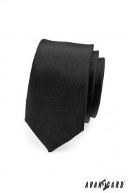 Wąski czarny matowy krawat