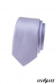 Liliowy wąski wzorzysty krawat Avantgard