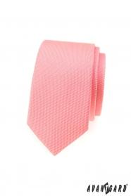Strukturalny wąski męski krawat w kolorze łososiowym