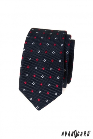 Wąski niebieski krawat z biało-niebieskim wzorem