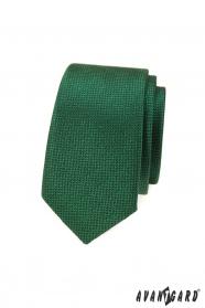 Zielony, wąski krawat z teksturowaną powierzchnią
