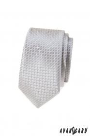 Szara wąski krawat w kratkę