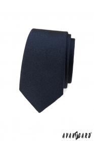 Granatowy, gładki, wąski krawat