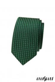 Zielony wąski krawat w kratkę 3D
