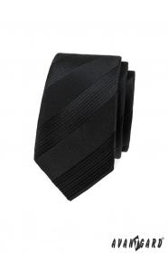 Czarny wąski krawat męski w paski