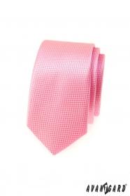 Wąski różowy krawat Avantgard w kratkę