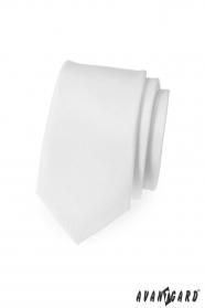 Wąski krawat SLIM biały mat