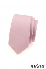 Wąski różowy matowy krawat w pudrowym kolorze