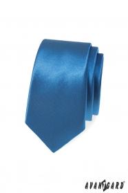 Niebieski, gładki wąski krawat