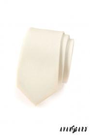 Wąski, kremowy matowy krawat Avantgard