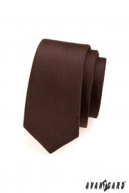 Wąski krawat w kolorze brązowym matowym
