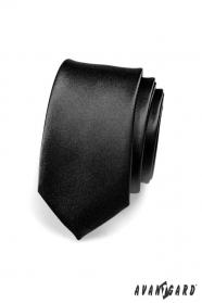 Krawat wąski czarny połysk