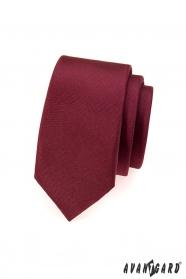 Bordowy wąski krawat męski matowy