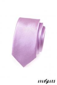 Wąski krawat SLIM fioletowy połysk
