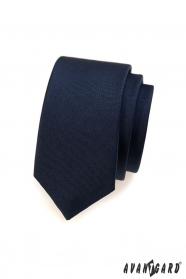Gładki niebieski wąski krawat męski