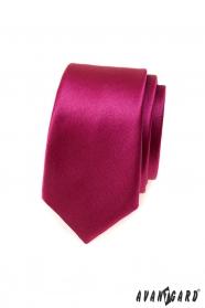 Krawat slim w błyszczącym bordowym kolorze
