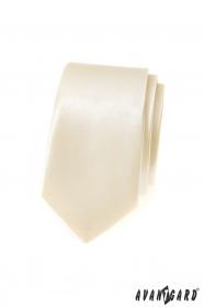 Kremowy męski wąski krawat