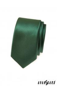 Ciemnozielony wąski krawat slim
