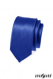 Wąski krawat SLIM niebieski z połyskiem