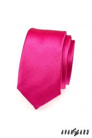 Wąski krawat męski w kolorze fuksji
