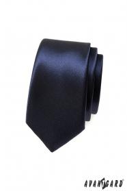 Gładki ciemnoniebieski wąski krawat