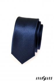Wąski niebieski krawat męski