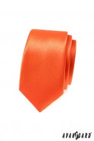 Pomarańczowy wąski krawat