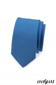 Wąski krawat Niebieski mat