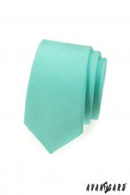 Wąski miętowy matowy krawat