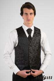 Czarna wzorzysta kamizelka męska z angielskim krawatem