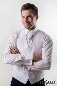Kamizelka ślubna z krawatem i poszetką biały błyszczący wzór