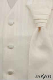 Kamizelka ślubna z krawatem, kremowa w szerokie paski