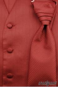Kamizelka ślubna z krawatem i poszetką, bordowa