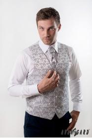 Kamizelka ślubna z krawatem, srebrna z ozdobami