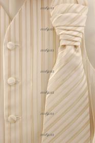 Beżowa kamizelka ślubna z krawatem i poszetką
