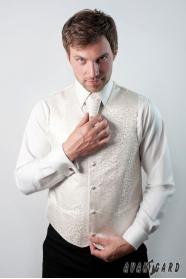 Kremowa kamizelka męska z angielskim krawatem