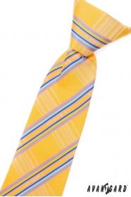 Żółty krawat dla chłopca w niebieskie paski