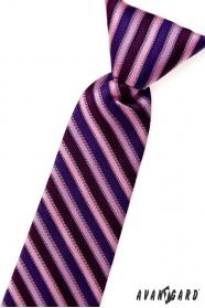 Krawat chłopięcy w różowe niebiesko-fioletowe paski