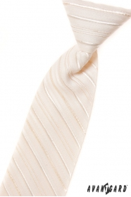 Kremowy krawat chłopięcy z delikatną linią