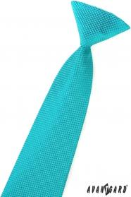 Chłopięcy krawat w turkusowe kwadraty
