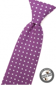Krawat chłopięcy, fioletowy w białe kropki