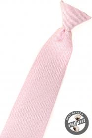 Różowy krawat dla chłopca o strukturalnej powierzchni