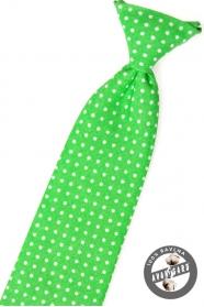 Krawat chłopięcy, zielony w białe kropki
